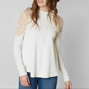 Free People White Daniella Pieced Lace Top